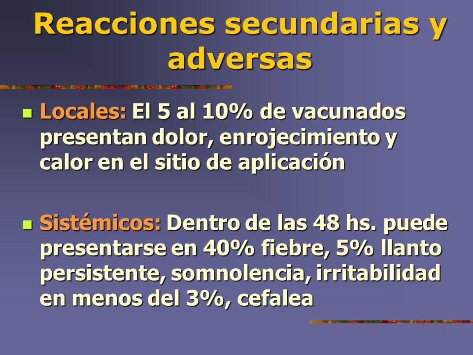 Reacciones secundarias y adversas Locales: El 5 al 10% de vacunados presentan dolor, enrojecimiento y calor en el sitio de aplicación Locales: El 5 al
