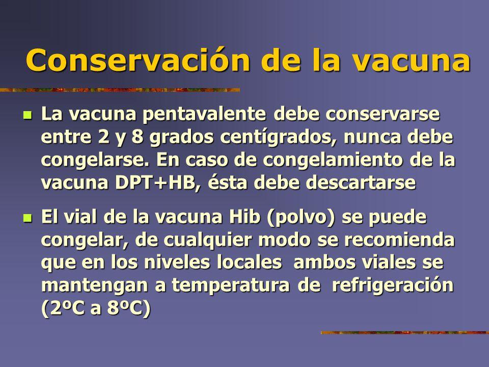 Conservación de la vacuna La vacuna pentavalente debe conservarse entre 2 y 8 grados centígrados, nunca debe congelarse. En caso de congelamiento de l