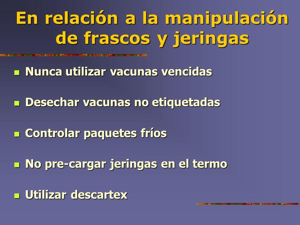 En relación a la manipulación de frascos y jeringas Nunca utilizar vacunas vencidas Nunca utilizar vacunas vencidas Desechar vacunas no etiquetadas De