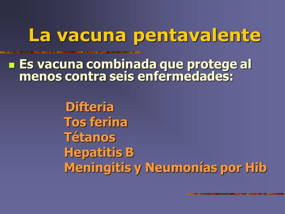 La vacunapentavalente La vacuna pentavalente Es vacuna combinada que protege al menos contra seis enfermedades: Es vacuna combinada que protege al men