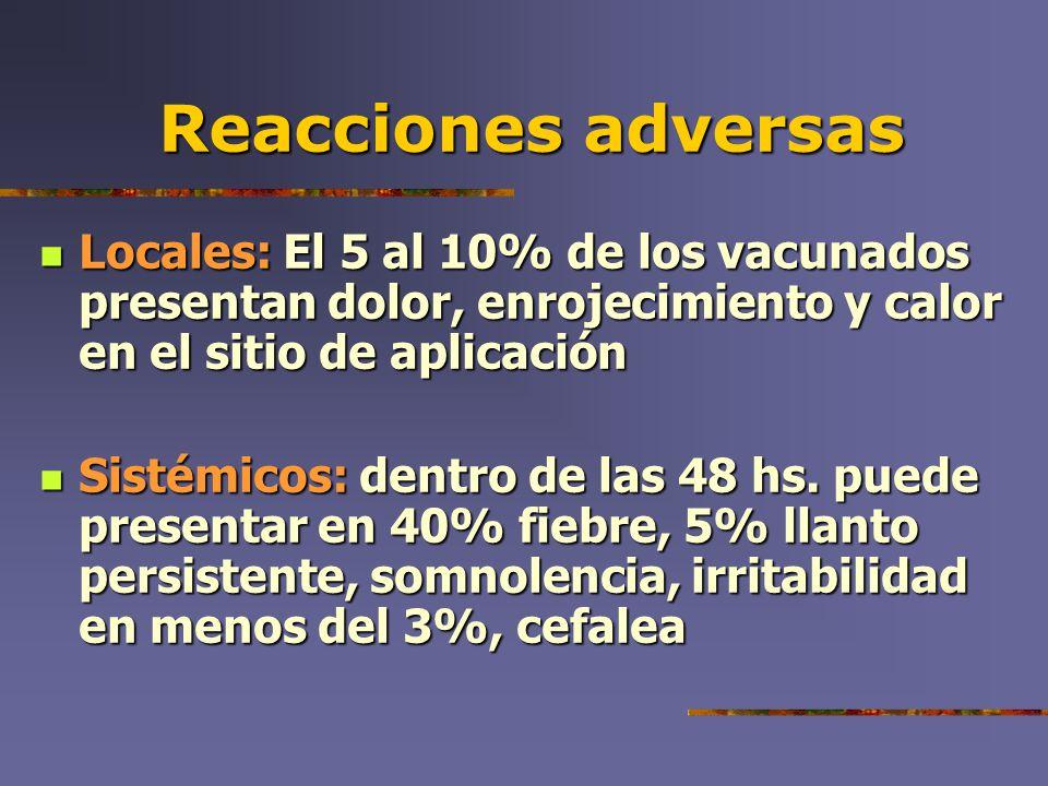 Reacciones adversas Locales: El 5 al 10% de los vacunados presentan dolor, enrojecimiento y calor en el sitio de aplicación Locales: El 5 al 10% de lo