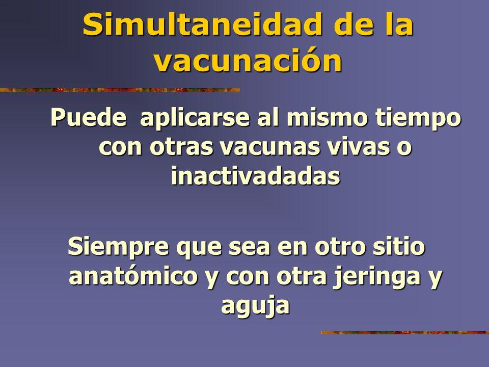 Simultaneidad de la vacunación Puede aplicarse al mismo tiempo con otras vacunas vivas o inactivadadas Siempre que sea en otro sitio anatómico y con o