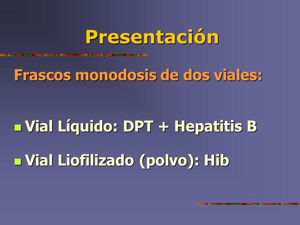Presentación Frascos monodosis de dos viales: Vial Líquido: DPT + Hepatitis B Vial Líquido: DPT + Hepatitis B Vial Liofilizado (polvo): Hib Vial Liofi