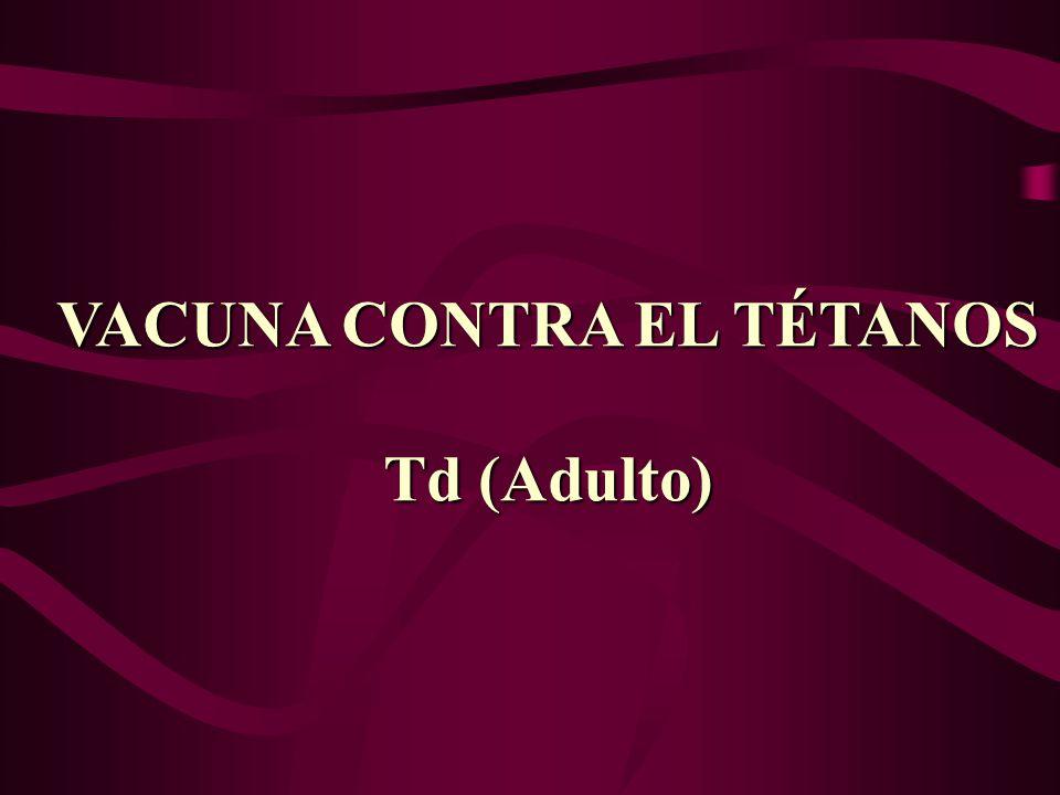 VACUNA CONTRA EL TÉTANOS Td (Adulto)