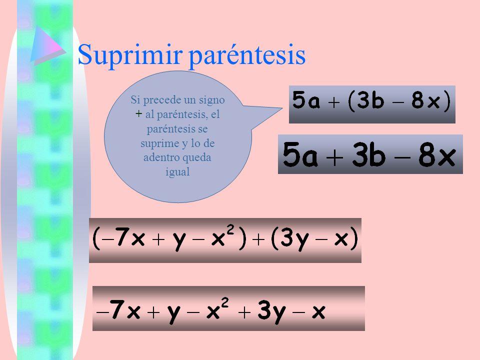 Suprimir paréntesis Si precede un signo + al paréntesis, el paréntesis se suprime y lo de adentro queda igual