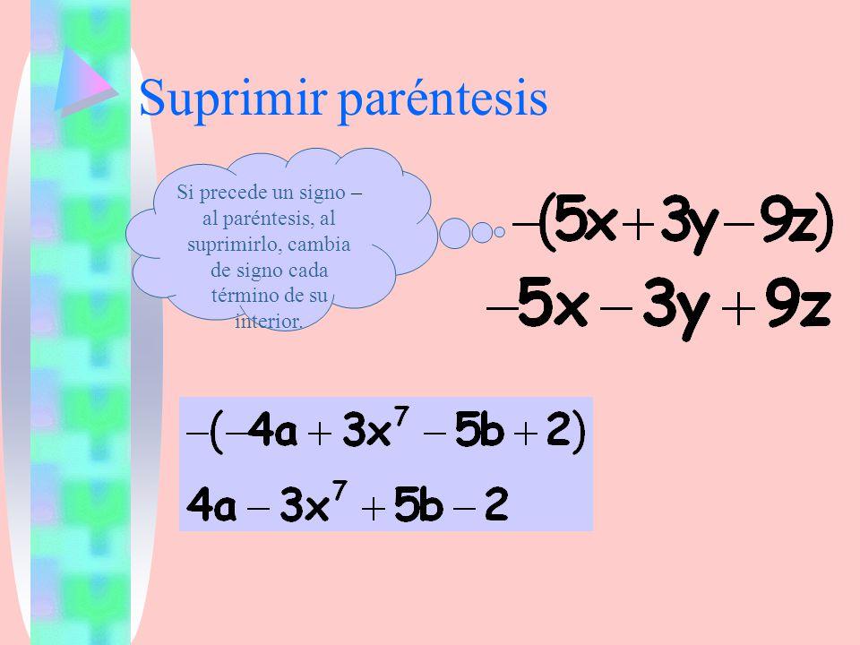 Suprimir paréntesis Si precede un signo – al paréntesis, al suprimirlo, cambia de signo cada término de su interior.