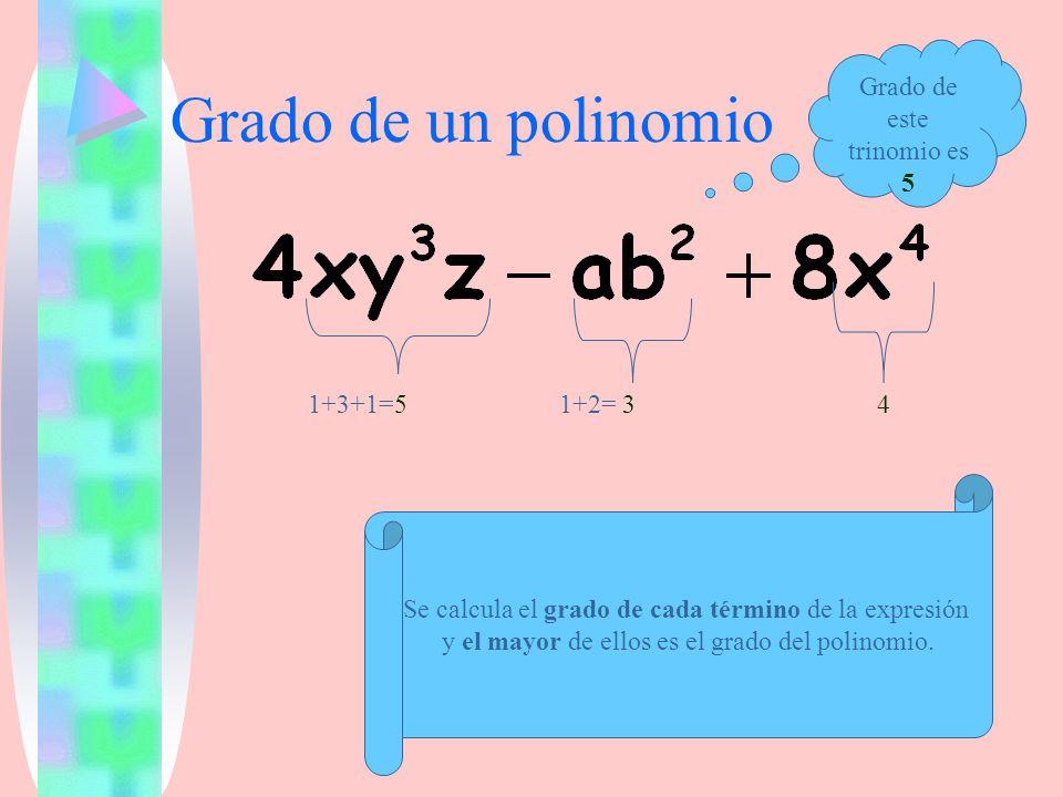 Grado de un polinomio Se calcula el grado de cada término de la expresión y el mayor de ellos es el grado del polinomio. 1+3+1=51+2= 34 Grado de este