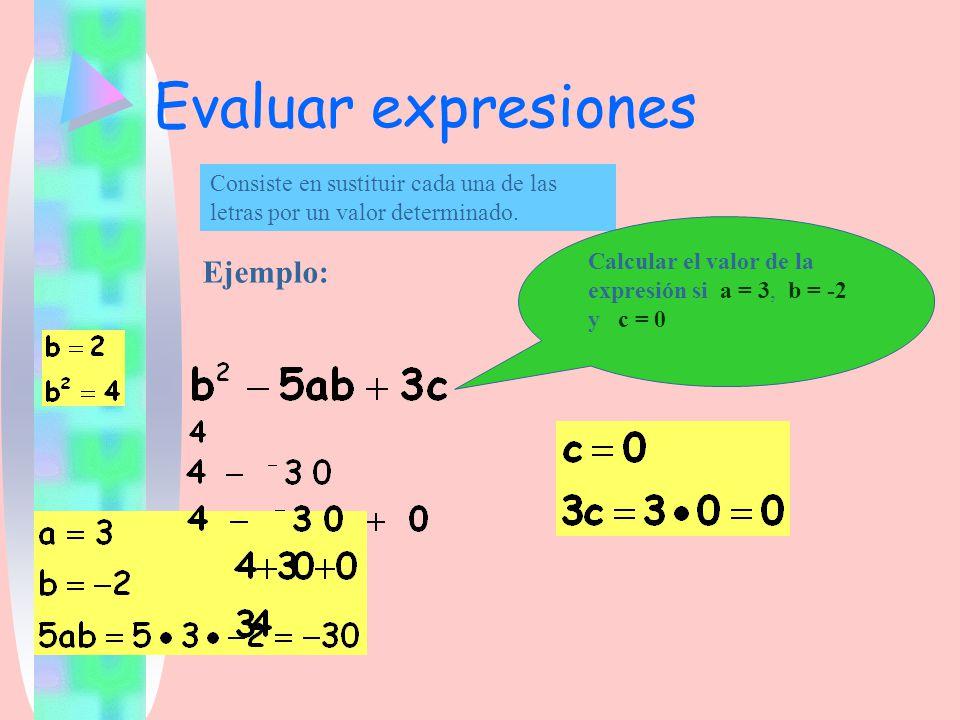Evaluar expresiones Consiste en sustituir cada una de las letras por un valor determinado. Ejemplo: Calcular el valor de la expresión si a = 3, b = -2