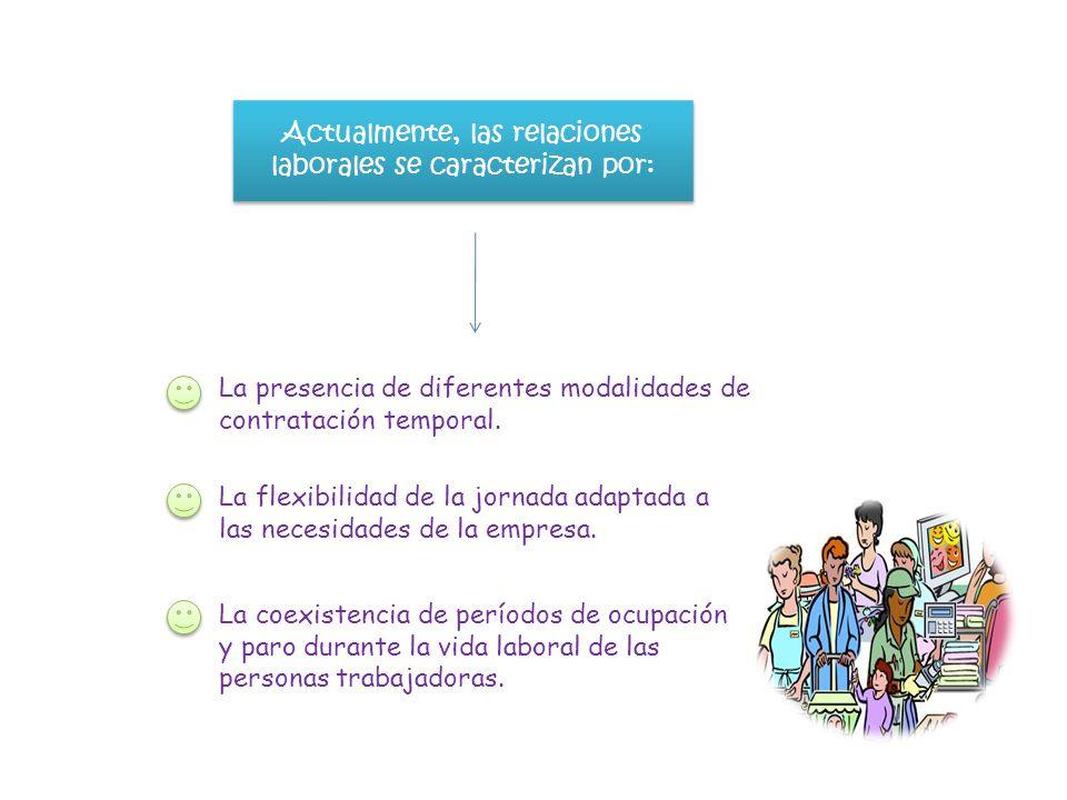 Actualmente, las relaciones laborales se caracterizan por: La presencia de diferentes modalidades de contratación temporal. La flexibilidad de la jorn