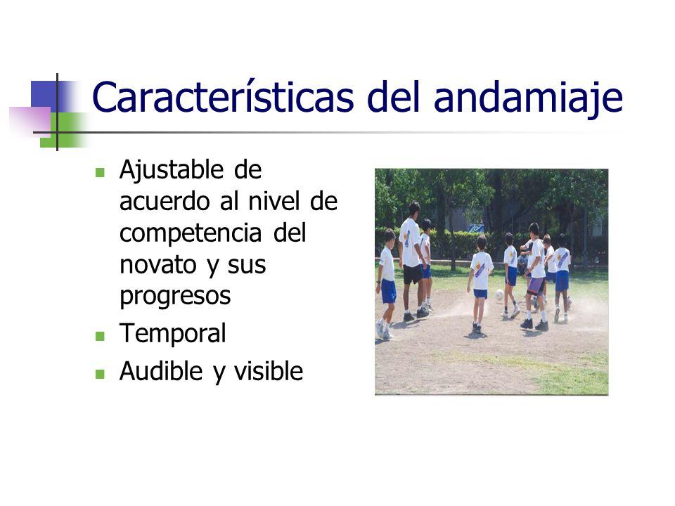 Características del andamiaje Ajustable de acuerdo al nivel de competencia del novato y sus progresos Temporal Audible y visible