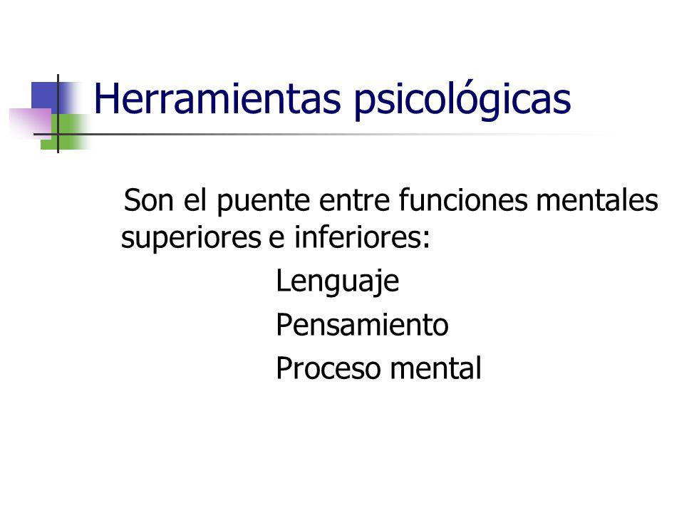 Herramientas psicológicas Son el puente entre funciones mentales superiores e inferiores: Lenguaje Pensamiento Proceso mental