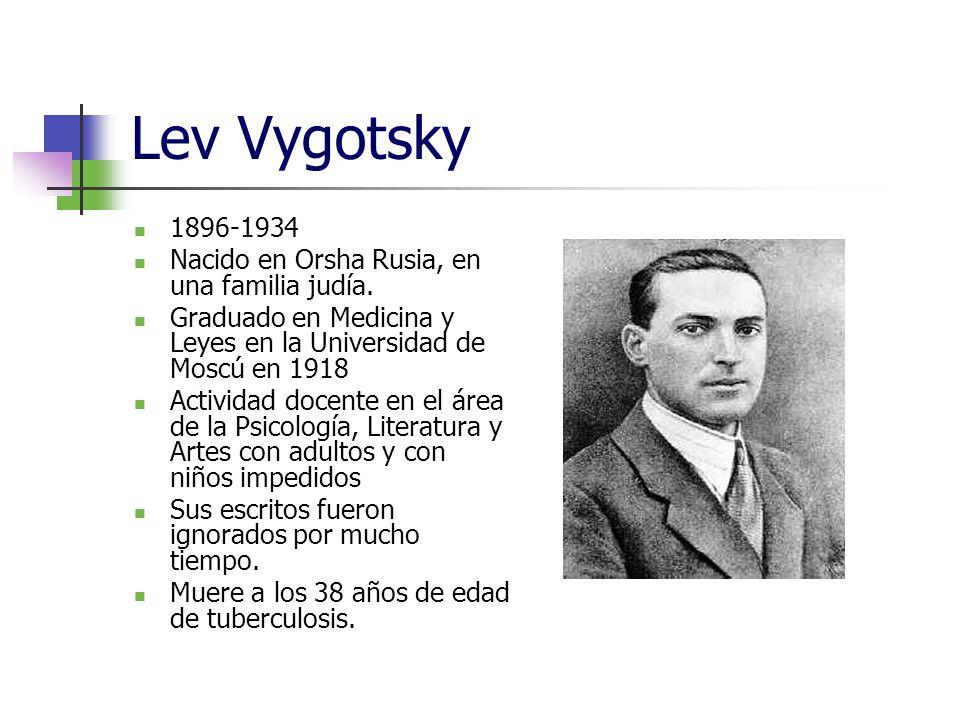 Lev Vygotsky 1896-1934 Nacido en Orsha Rusia, en una familia judía. Graduado en Medicina y Leyes en la Universidad de Moscú en 1918 Actividad docente