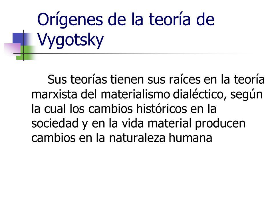 Orígenes de la teoría de Vygotsky Sus teorías tienen sus raíces en la teoría marxista del materialismo dialéctico, según la cual los cambios histórico