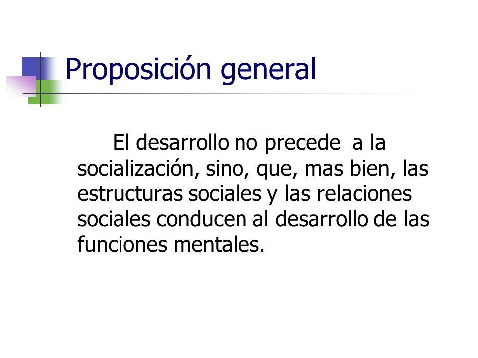 Proposición general El desarrollo no precede a la socialización, sino, que, mas bien, las estructuras sociales y las relaciones sociales conducen al d