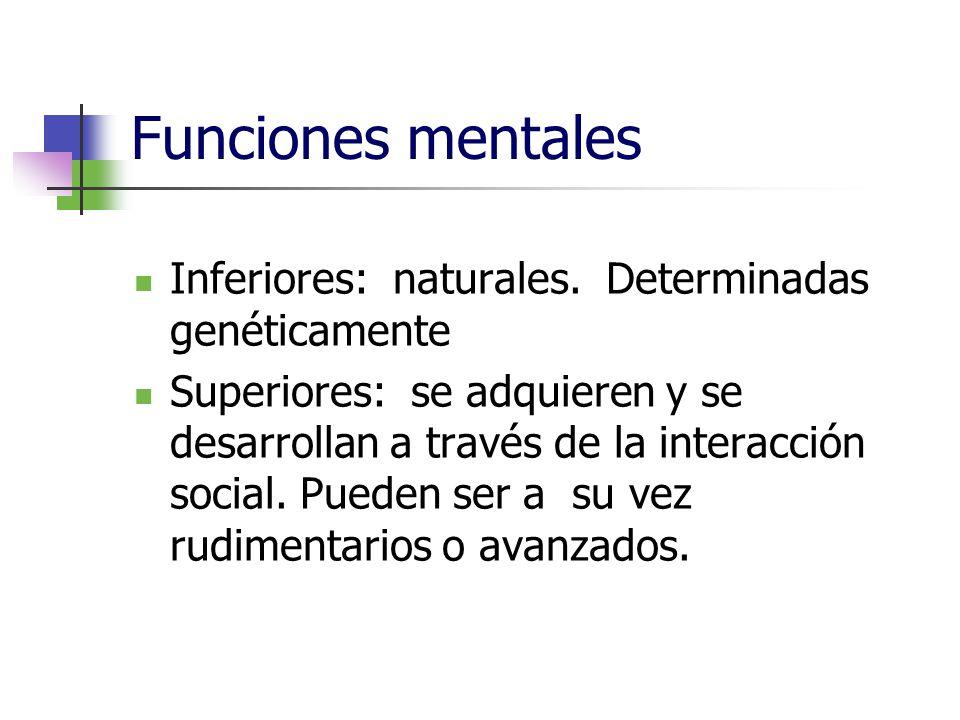Funciones mentales Inferiores: naturales. Determinadas genéticamente Superiores: se adquieren y se desarrollan a través de la interacción social. Pued