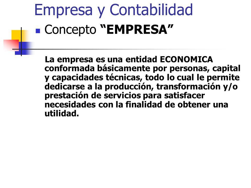 Empresa y Contabilidad Concepto EMPRESA La empresa es una entidad ECONOMICA conformada básicamente por personas, capital y capacidades técnicas, todo lo cual le permite dedicarse a la producción, transformación y/o prestación de servicios para satisfacer necesidades con la finalidad de obtener una utilidad.