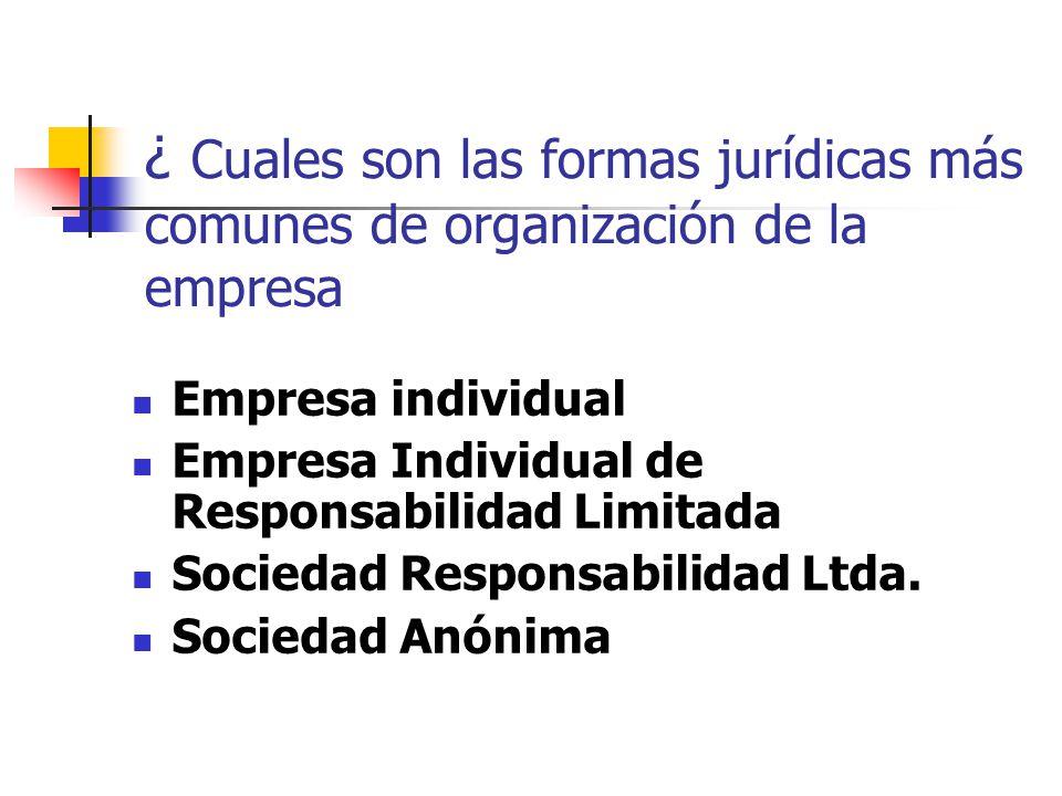¿ Cuales son las formas jurídicas más comunes de organización de la empresa Empresa individual Empresa Individual de Responsabilidad Limitada Sociedad Responsabilidad Ltda.