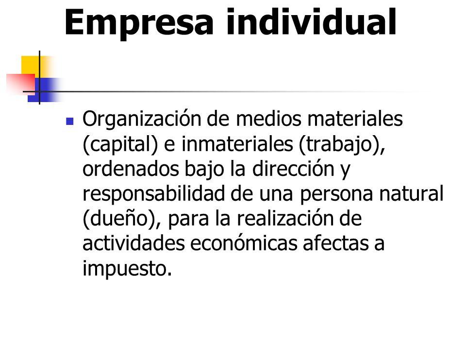 Empresa individual Organización de medios materiales (capital) e inmateriales (trabajo), ordenados bajo la dirección y responsabilidad de una persona natural (dueño), para la realización de actividades económicas afectas a impuesto.