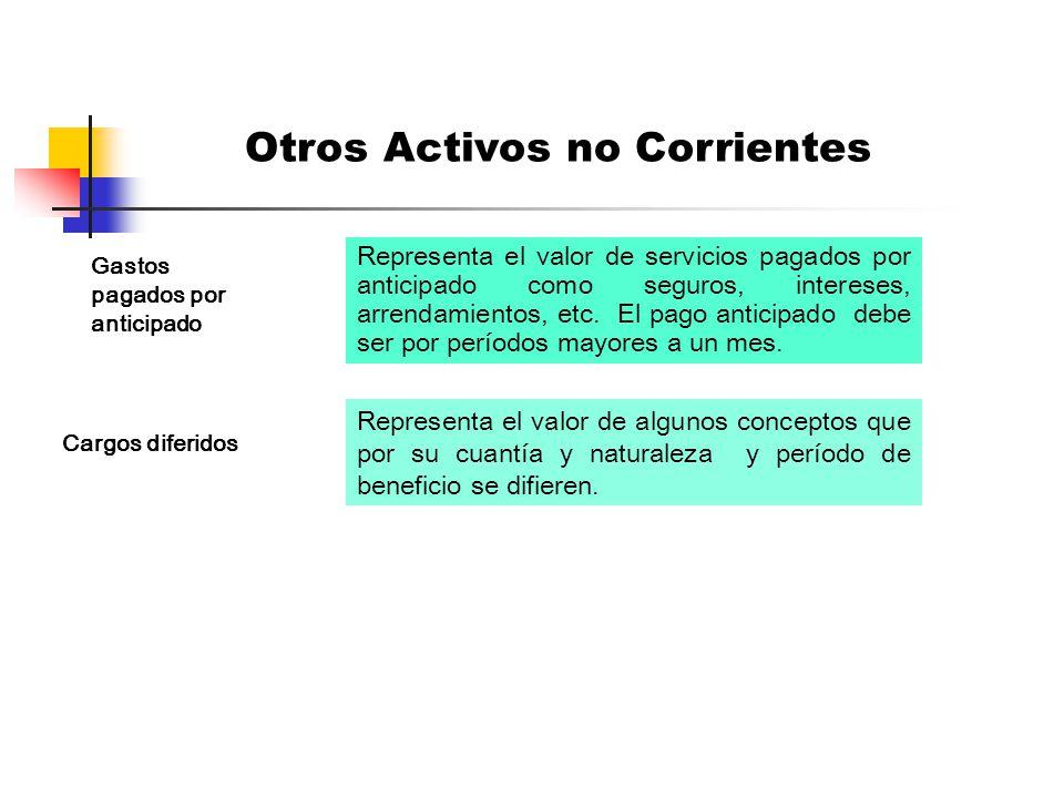 Son activos que no cumplen condiciones o requisitos para ser clasificados como activos corrientes o como propiedad planta y equipo.