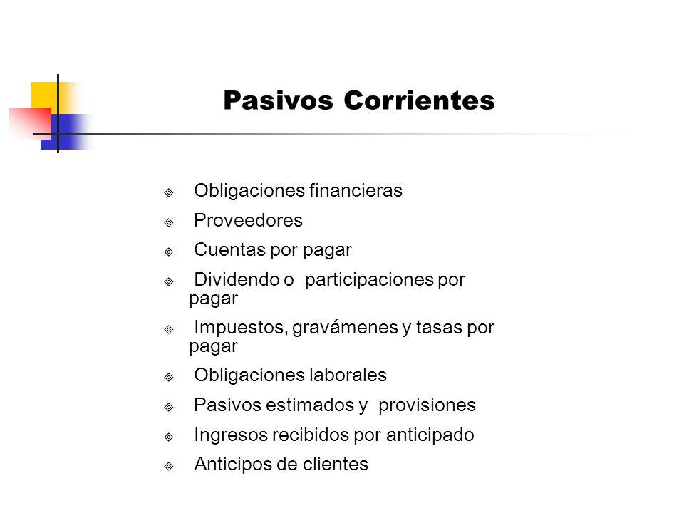 PASIVOS CORRIENTES O DE CORTO PLAZO Son las obligaciones que se deben cubrir en un plazo no mayor de un año (<1) contado a partir de la fecha del balance.