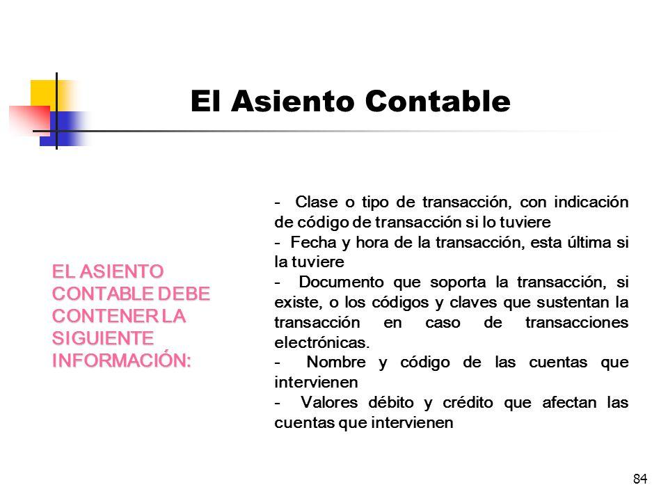 83 El Asiento Contable De la combinación de las convenciones debe y haber con las cuentas surge el asiento contable.