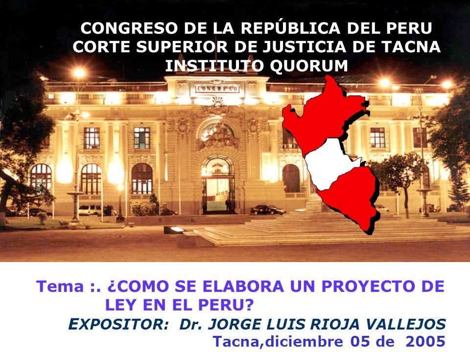 Tema :.¿COMO SE ELABORA UN PROYECTO DE LEY EN EL PERU.