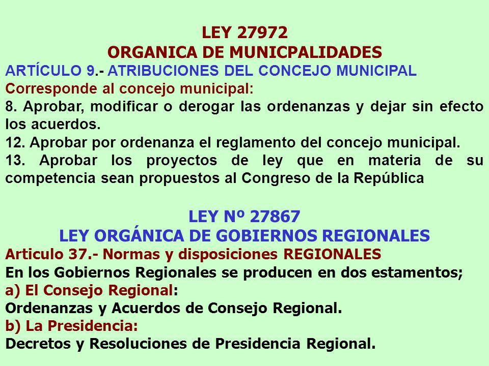 LEY 27972 ORGANICA DE MUNICPALIDADES ARTÍCULO 9.- ATRIBUCIONES DEL CONCEJO MUNICIPAL Corresponde al concejo municipal: 8.