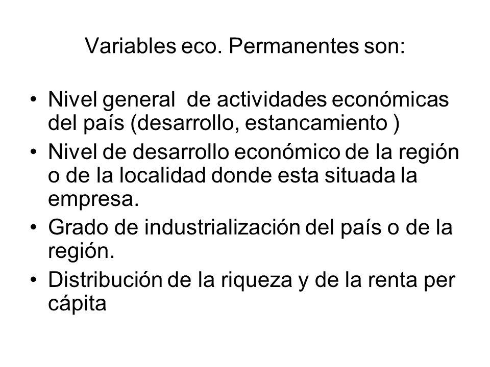 Variables económicas temporales Tendencias inflacionarias.