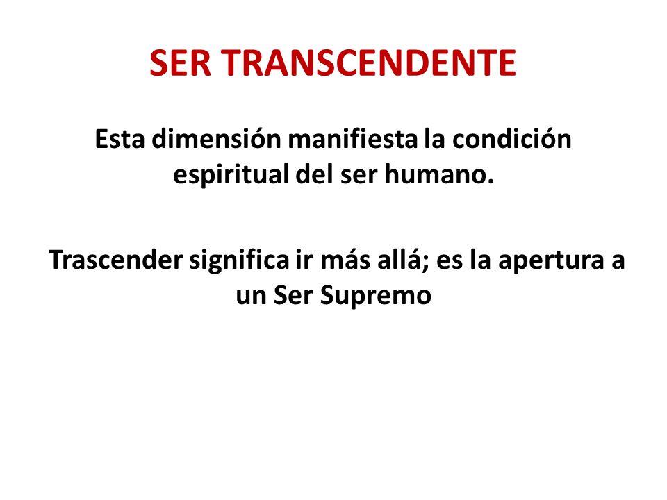 Esta dimensión manifiesta la condición espiritual del ser humano.