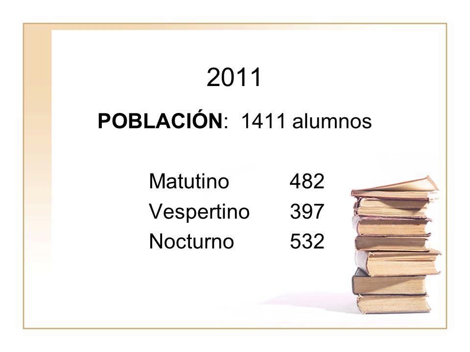 2011 POBLACIÓN: 1411 alumnos Matutino482 Vespertino397 Nocturno532