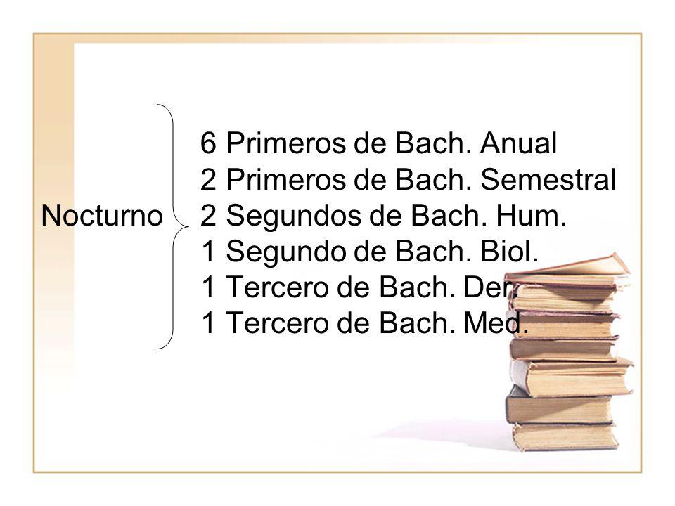6 Primeros de Bach. Anual 2 Primeros de Bach. Semestral Nocturno 2 Segundos de Bach. Hum. 1 Segundo de Bach. Biol. 1 Tercero de Bach. Der. 1 Tercero d
