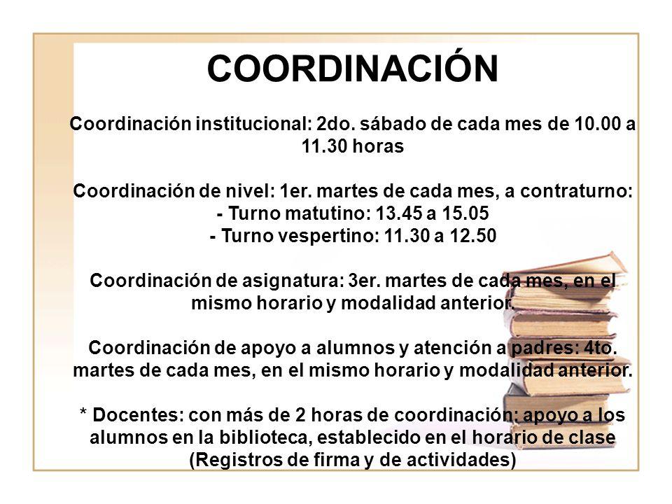 COORDINACIÓN Coordinación institucional: 2do. sábado de cada mes de 10.00 a 11.30 horas Coordinación de nivel: 1er. martes de cada mes, a contraturno: