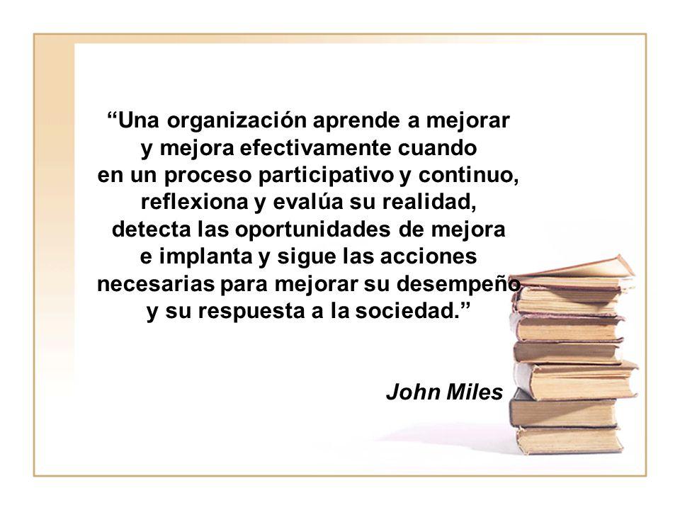 Una organización aprende a mejorar y mejora efectivamente cuando en un proceso participativo y continuo, reflexiona y evalúa su realidad, detecta las