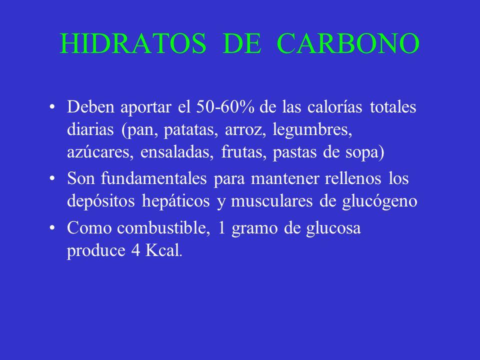 HIDRATOS DE CARBONO Deben aportar el 50-60% de las calorías totales diarias (pan, patatas, arroz, legumbres, azúcares, ensaladas, frutas, pastas de so