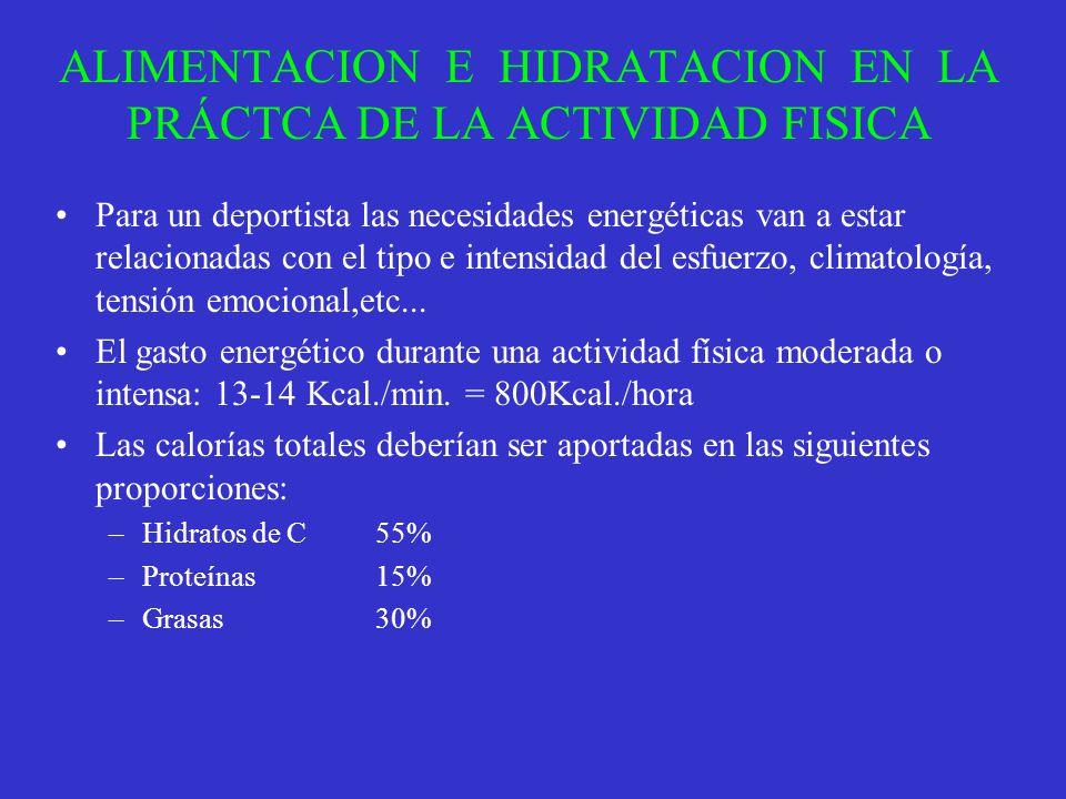 ALIMENTACION E HIDRATACION EN LA PRÁCTCA DE LA ACTIVIDAD FISICA Para un deportista las necesidades energéticas van a estar relacionadas con el tipo e