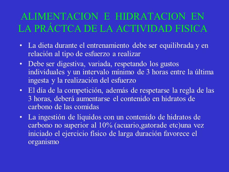 ALIMENTACION E HIDRATACION EN LA PRÁCTCA DE LA ACTIVIDAD FISICA La dieta durante el entrenamiento debe ser equilibrada y en relación al tipo de esfuer