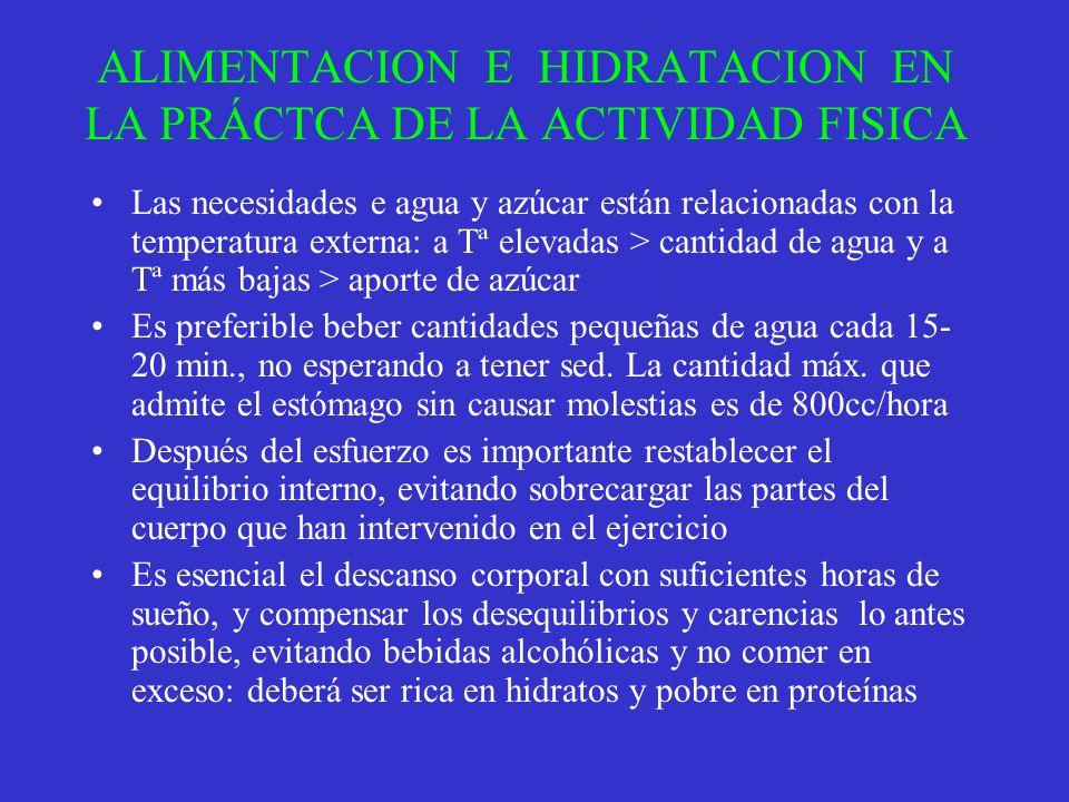 ALIMENTACION E HIDRATACION EN LA PRÁCTCA DE LA ACTIVIDAD FISICA Las necesidades e agua y azúcar están relacionadas con la temperatura externa: a Tª el