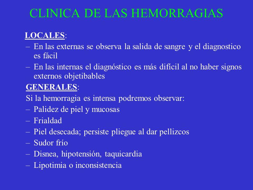 CLINICA DE LAS HEMORRAGIAS LOCALES: –En las externas se observa la salida de sangre y el diagnostico es fácil –En las internas el diagnóstico es más d