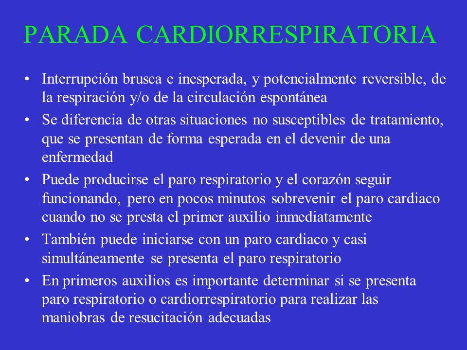 PARADA CARDIORRESPIRATORIA Interrupción brusca e inesperada, y potencialmente reversible, de la respiración y/o de la circulación espontánea Se difere