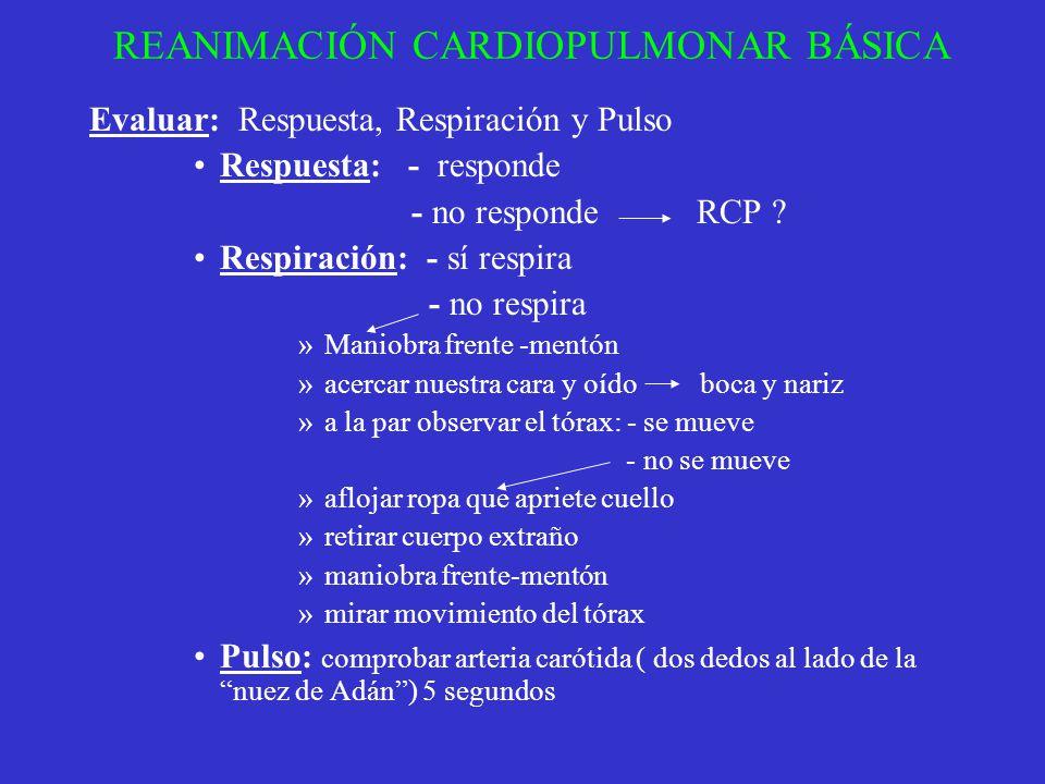 REANIMACIÓN CARDIOPULMONAR BÁSICA Evaluar: Respuesta, Respiración y Pulso Respuesta: - responde - no responde RCP ? Respiración: - sí respira - no res