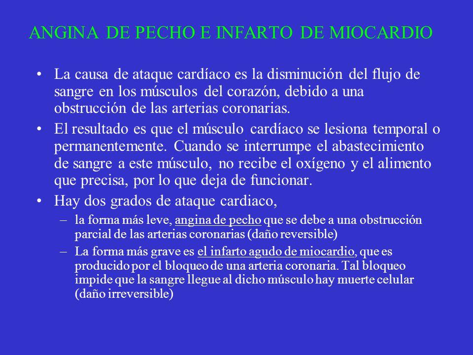 ANGINA DE PECHO E INFARTO DE MIOCARDIO La causa de ataque cardíaco es la disminución del flujo de sangre en los músculos del corazón, debido a una obs