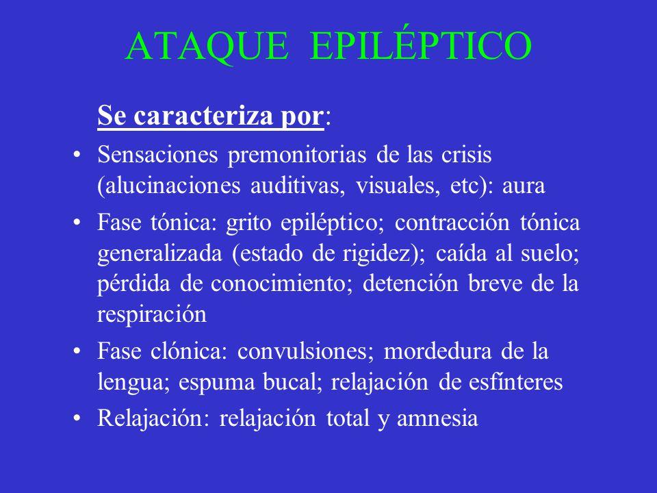 ATAQUE EPILÉPTICO Se caracteriza por: Sensaciones premonitorias de las crisis (alucinaciones auditivas, visuales, etc): aura Fase tónica: grito epilép