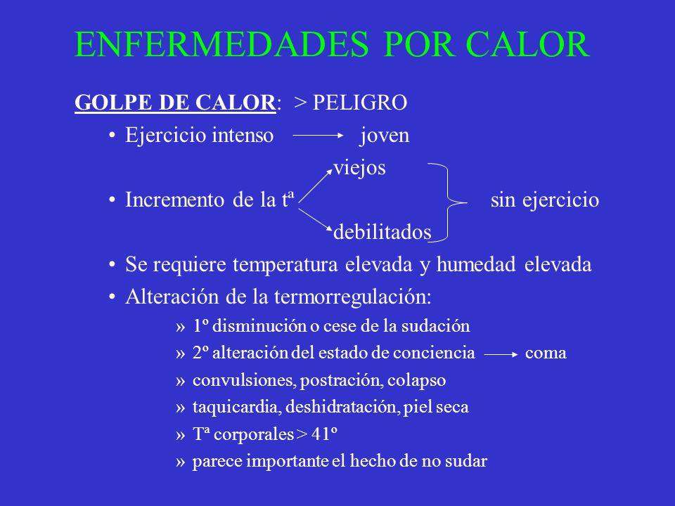 ENFERMEDADES POR CALOR GOLPE DE CALOR: > PELIGRO Ejercicio intenso joven viejos Incremento de la tª sin ejercicio debilitados Se requiere temperatura