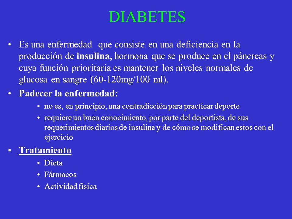 DIABETES Es una enfermedad que consiste en una deficiencia en la producción de insulina, hormona que se produce en el páncreas y cuya función priorita