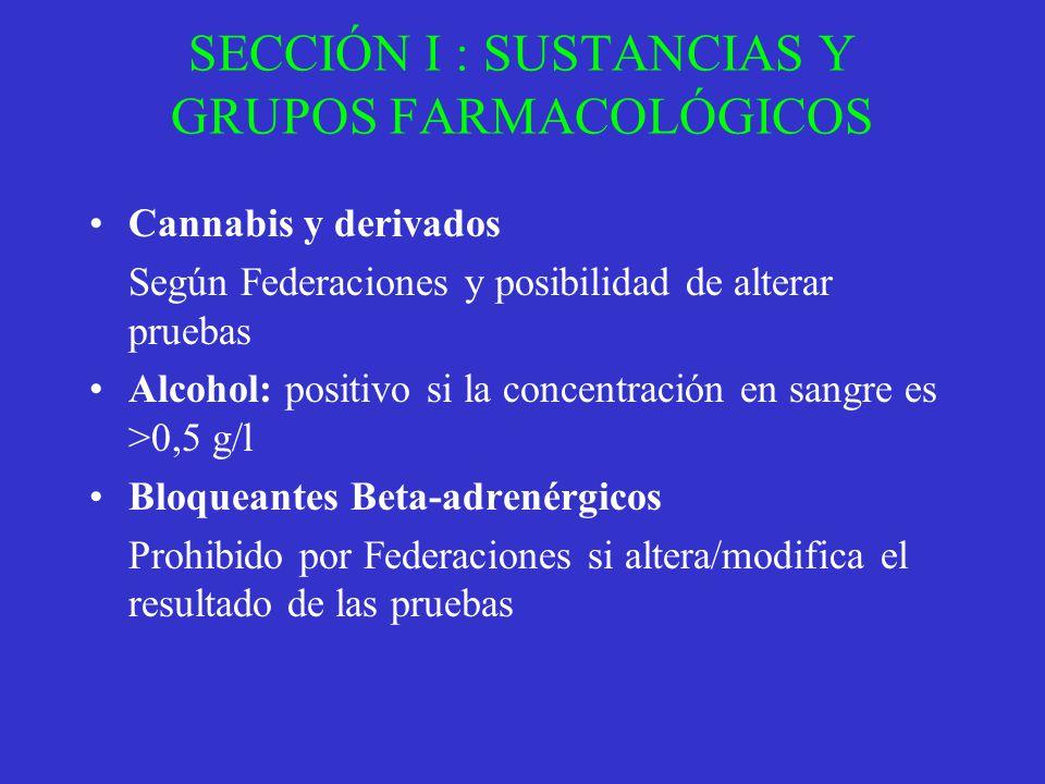 SECCIÓN I : SUSTANCIAS Y GRUPOS FARMACOLÓGICOS Cannabis y derivados Según Federaciones y posibilidad de alterar pruebas Alcohol: positivo si la concen