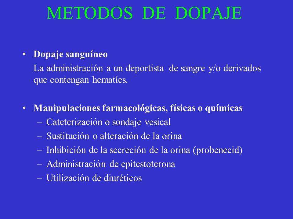 METODOS DE DOPAJE Dopaje sanguíneo La administración a un deportista de sangre y/o derivados que contengan hematíes. Manipulaciones farmacológicas, fí