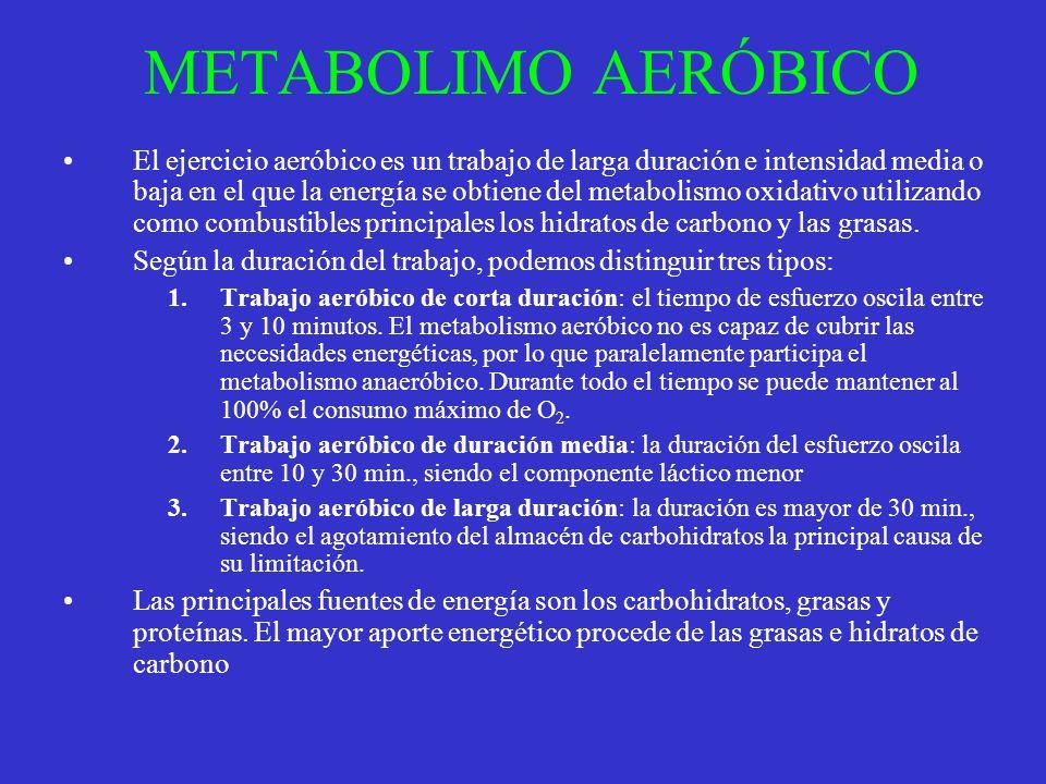 METABOLIMO AERÓBICO El ejercicio aeróbico es un trabajo de larga duración e intensidad media o baja en el que la energía se obtiene del metabolismo ox