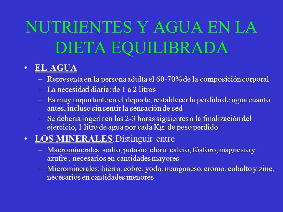NUTRIENTES Y AGUA EN LA DIETA EQUILIBRADA EL AGUA –Representa en la persona adulta el 60-70% de la composición corporal –La necesidad diaria: de 1 a 2