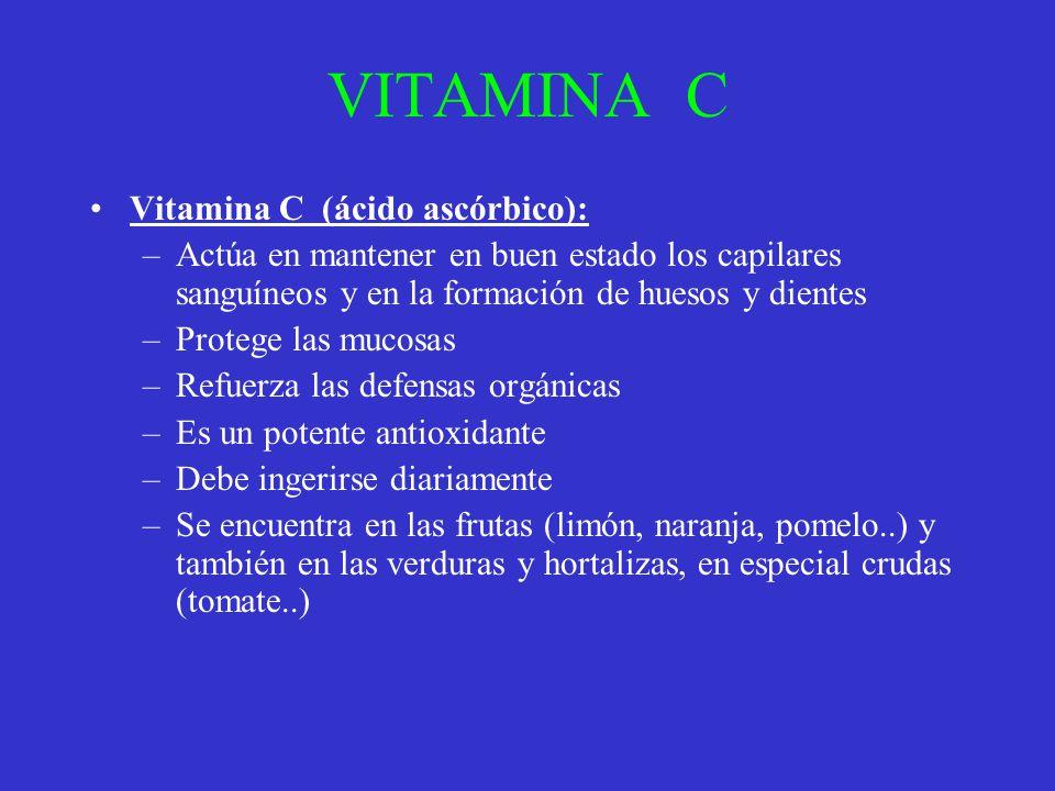 VITAMINA C Vitamina C (ácido ascórbico): –Actúa en mantener en buen estado los capilares sanguíneos y en la formación de huesos y dientes –Protege las