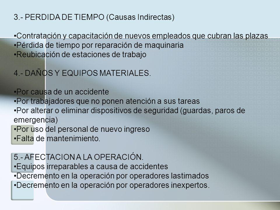 3.- PERDIDA DE TIEMPO (Causas Indirectas) Contratación y capacitación de nuevos empleados que cubran las plazas Pérdida de tiempo por reparación de ma
